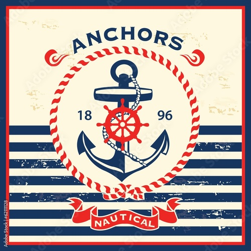 Fotografia  Vintage nautical template design