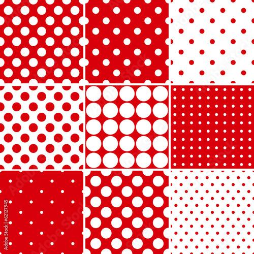 Photo  Red polka dot seamless patterns