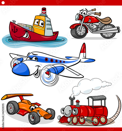 Staande foto Cartoon cars funny cartoon vehicles and cars set