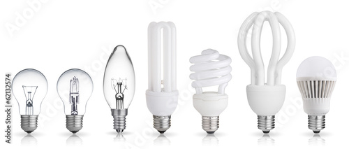 Photo  set of incandescent, halogen, compact fluorescent, LED light bul