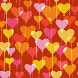 Seamless pattern with heart balloons
