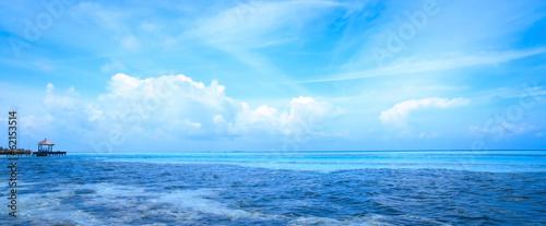 Aluminium Prints Green coral Tropical blue sea water in Maldives