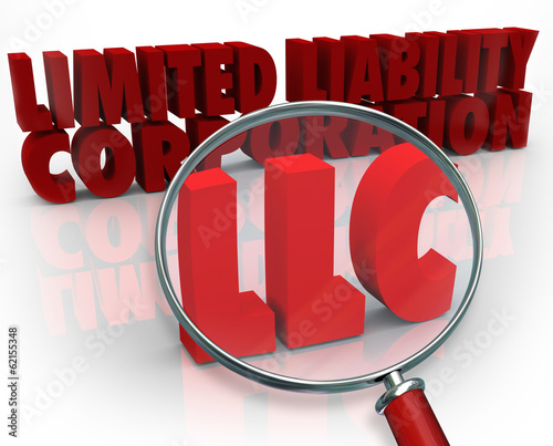 Photo  LLC Magnifying Glass Limited Liability Corporation Red Words