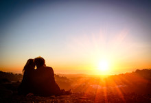 Couple In Love At Sunset - San Francisco Twin Peaks