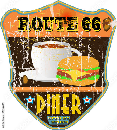 vintage route 66 diner sign, grungy style,nostalgic, vector illu