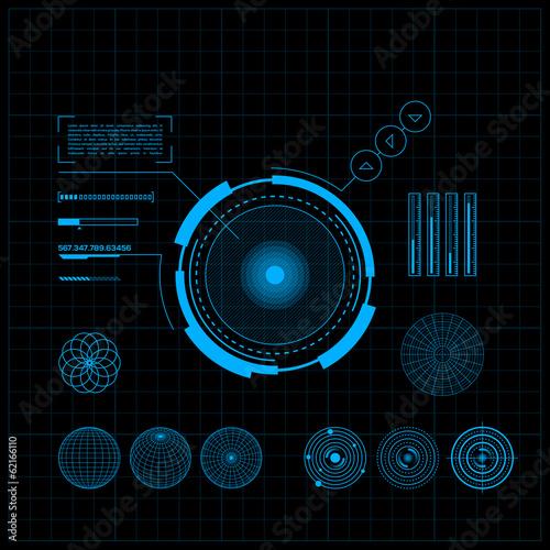 Fotografía  HUD and GUI set. Futuristic User Interface.