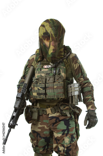 Poster Militaire NATO soldier in full gear.