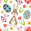 Colorful vector seamless pattern with easter related symbols 2