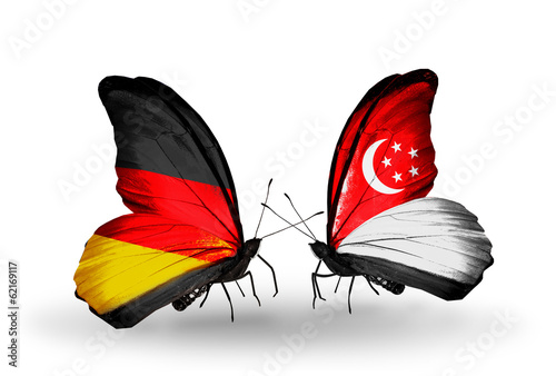 Two butterflies with flags Germany and Singapore Poster