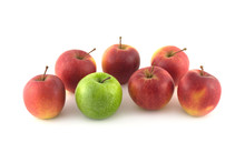 Seven Ripe Red And Green Apple...