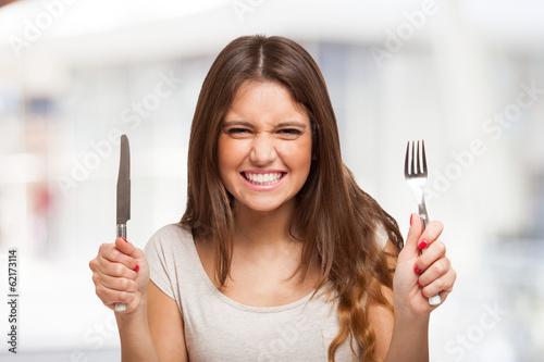 Fotomural Starving woman