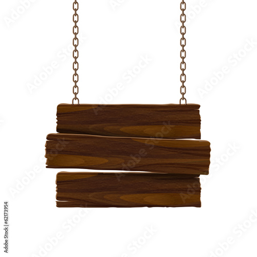Fotografie, Obraz  Wooden sign with chain. Vector