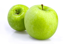 Two Green Apples On White Back...