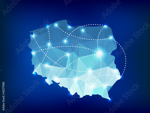 Fotografie, Tablou Poland country map polygonal with spot lights places