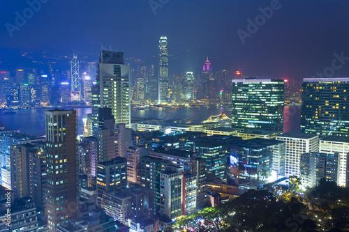 Photo  Hong Kong modern city at night