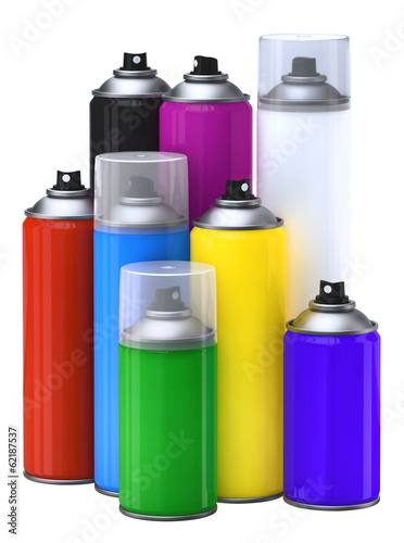Photo  Spray paint cans. Isolaated on white.