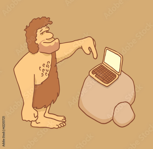 Caveman getting in touch with technology Poster