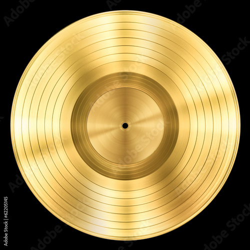 Fotografia, Obraz gold record music disc award isolated on black