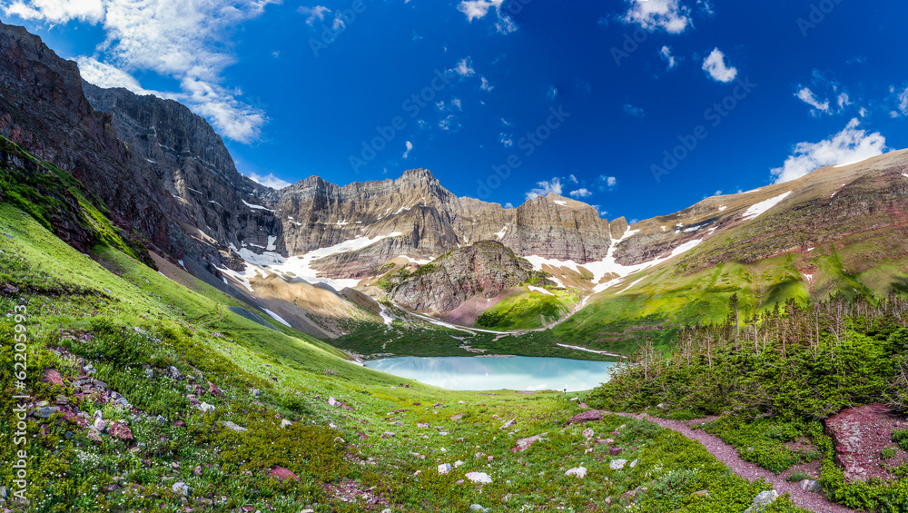 Fototapety, obrazy: Cracker lake campground in Glacier national Park, Montana