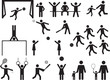 Pictogram people in park with kids and sport activity