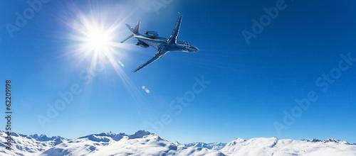 Fotografie, Obraz  executive jet in flight over the Alps