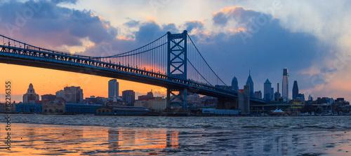 Foto op Plexiglas Panoramafoto s Panorama of Philadelphia skyline, Ben Franklin Bridge and Penn's