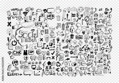 Obraz Hand doodle Business icon set idea design - fototapety do salonu