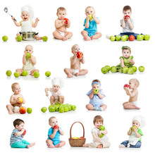 Set Of Babies And Kids Eating Apples, Isolated On White
