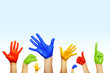 Leinwanddruck Bild - hands of different colors