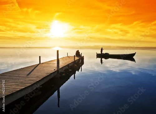 Tuinposter el pescador y el embarcadero
