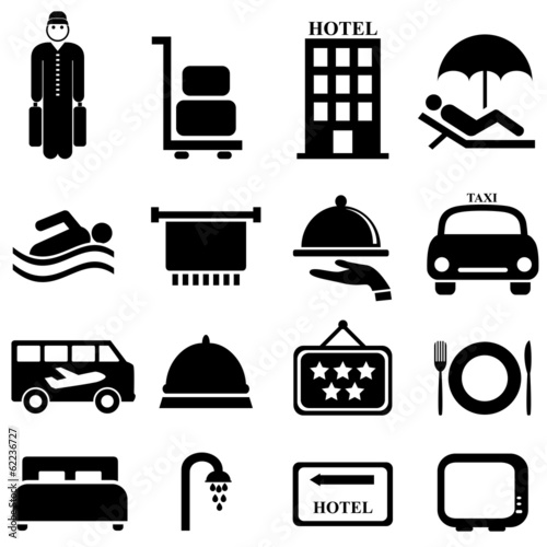 Fotografie, Obraz  Hotel and hospitality icons
