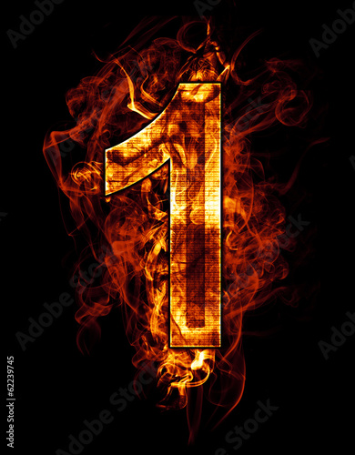 Wall Murals Flame one, illustration of number with chrome effects and red fire on