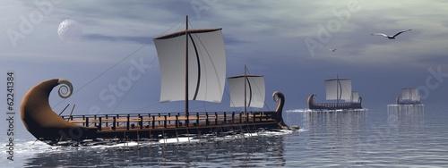 Türaufkleber Schiff Greek trireme boats - 3D render