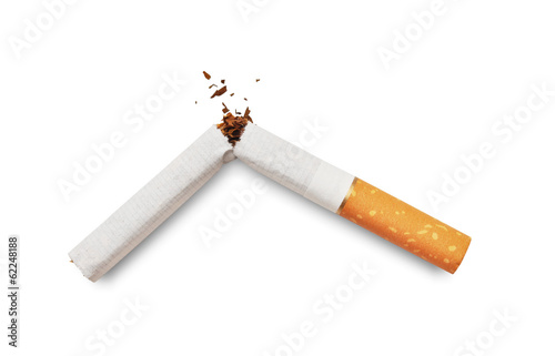 Canvas Print Quit smoking. Broken cigarette isolated on white background