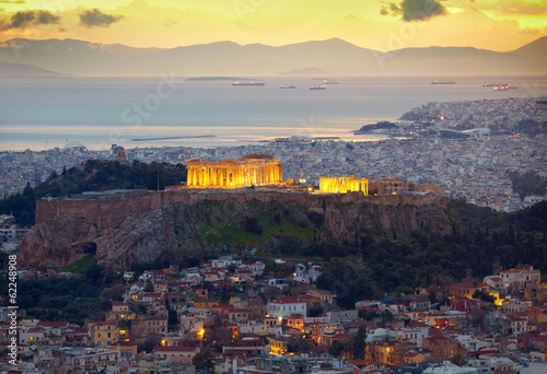 Printed kitchen splashbacks Athens Athens, Greece. After sunset. Parthenon and Herodium constructi