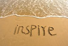Word Inspire Drawn On Beach