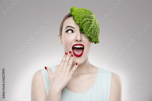 Fotografie, Obraz  Portrait of a woman illustrating a vegan concept