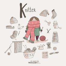 Cute Vector Alphabet Profession. Letter K - Knitter