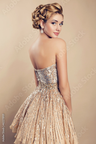 Fotografie, Obraz  beautiful blond woman in elegant beige dress