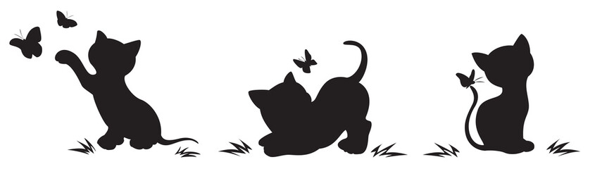 Fototapeta Silhouettes of cats with butterflies