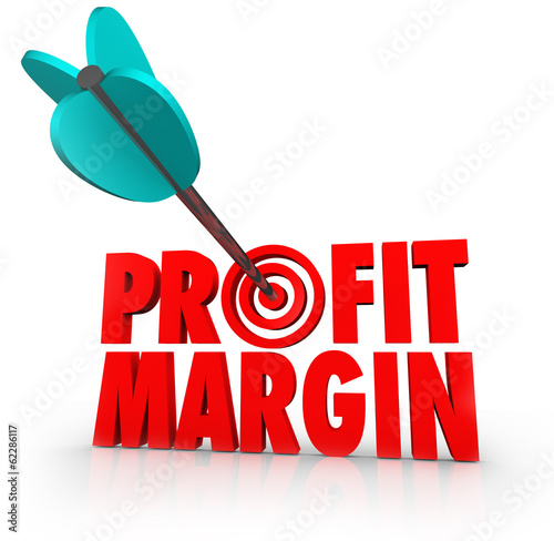 Fotografie, Obraz  Profit Margin Arrow in Target Competing Business Growth Money In