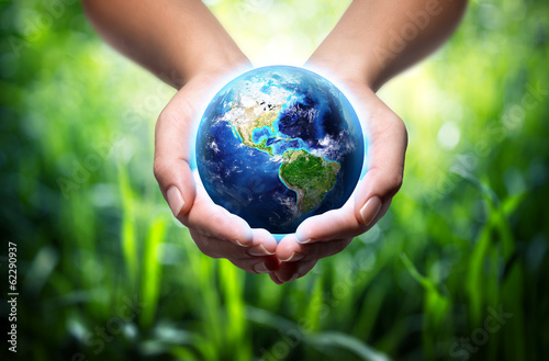 Obraz earth in hands - grass background - environment concept - fototapety do salonu