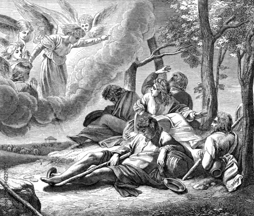 Photo annunciation to the shepherds of  the birth of Jesus Christ,