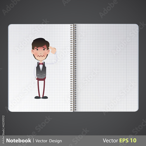 Photo Man commits suicide printed in notebook. Vector design