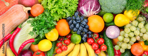 Staande foto Keuken fresh fruits and vegetables
