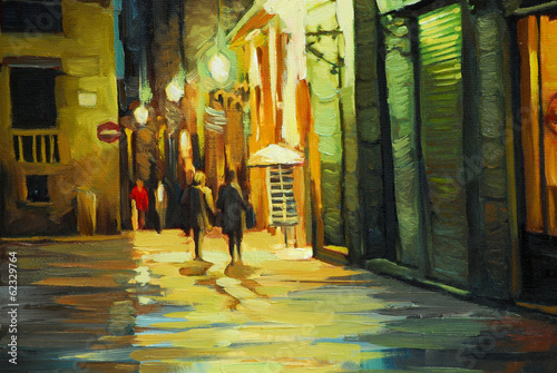 rain in gothic quarter of barcelona, painting by oil, illustrati