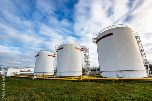 Big oil tanks in a refinery Fototapeta