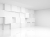 Abstract empty 3d interior with white cubes on the wall