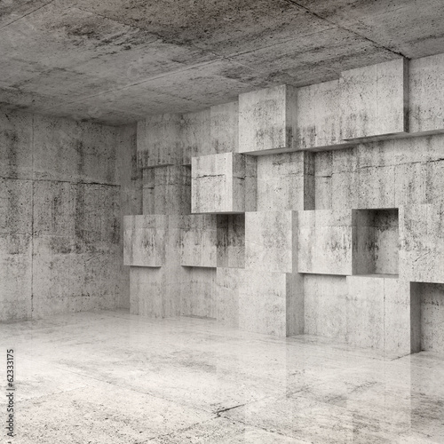 Abstract concrete 3d interior with cubes on the wall #62333175