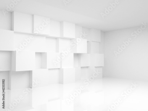 Abstract empty 3d interior with white cubes on the wall © evannovostro